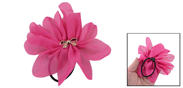 Lady Magenta Chiffon Flower Bowknot Inlaid Elastic Hair Tie Ponytail Holder