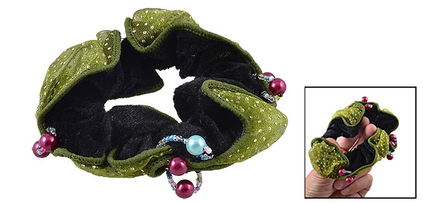 Plastic Beads Decor Green Dotted Gauze Black Velvet Elastic Hair Tie Ponytail Holder