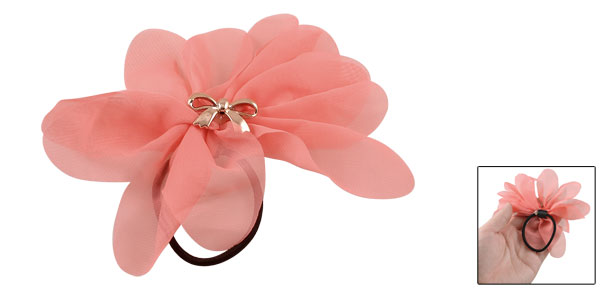 Woman Pink Chiffon Flower Bow Tie Inlaid Stretchy Hair Tie Ponytail Holder
