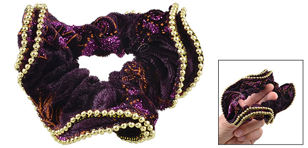 Glitter Powder Gold Tone Beads Decor Dark Purple Velvet Stretchy Hair Tie Ponytail Holder