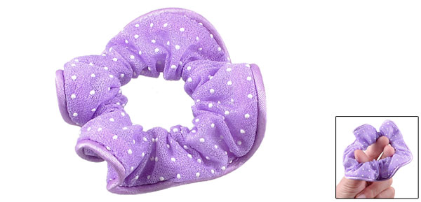 Ladies Purple White Dots Detail Nylon Hair Band Stretchy Ponytail Holder