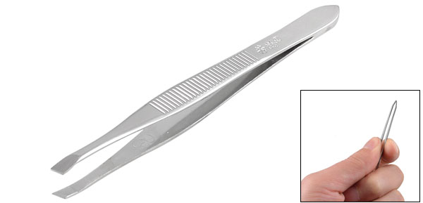 Silver Tone Slanted Flat Tip Metal Hair Eyebrow Tweezer Cosmetic Tool for Lady