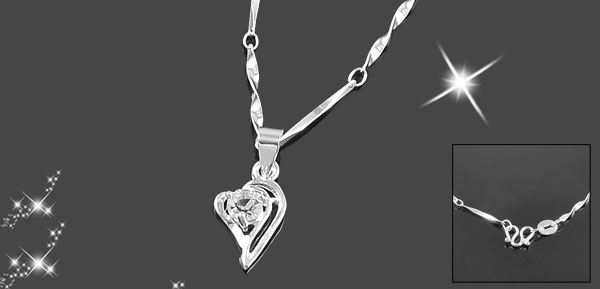 Lady Bling Bling Rhinestone Detail Silver Tone Spring Closure Double Hearts Pendant Necklace