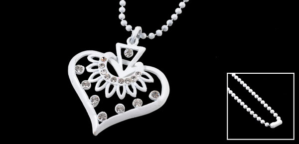Lady Rhinestone Decor Heart Shape Pendant Beaded Neck Chain Sweater Necklace White