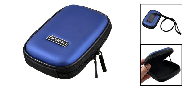 Navy Blue Foam Surface Two Way Zippered Sleeve Bag Case for Digital Camera