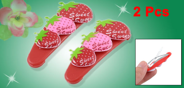 Girls Pink Red Strawberry Design Plastic Covered Metal Hair Clips Barrettes 2pcs