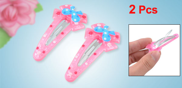 Schoolgirls Dots Pattern Bowknot Design Hair Clips Clamps Pink Blue 2 Pcs