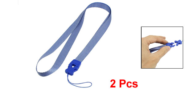 Blue White Rhombus Pattern Textured Release Buckle Nylon Cell Phone Keys Neck Strap String 2 Pcs