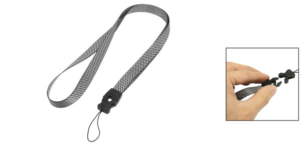 Black White Rhombus Pattern Plastic Release Buckle Camera Phone Keys Neck Strap Lanyard