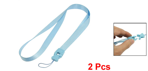 Blue White Rhombus Pattern Release Buckle Textured Nylon Cell Phone Keys Neck Strap String 2 Pcs