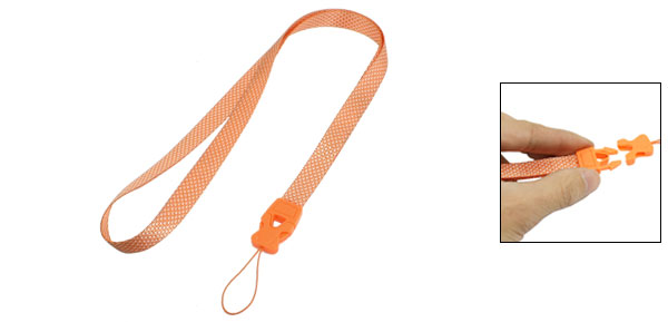 Orange White Rhombus Pattern Release Buckle Mobile Phone Camera MP3 Work Card Neck Strap Lanyard