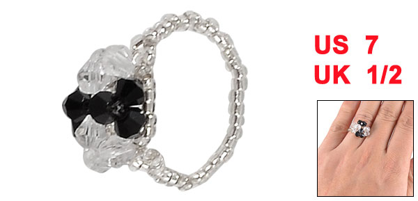 Woman Black Clear Faceted Bead Flower Shape Finger Ring US 7 UK N 1/2