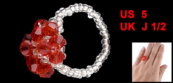 Woman Red Faceted Bead Flower Shape Finger Ring US 5 UK J 1/2
