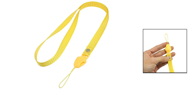 Yellow Release Buckle Stripe Pattern Textured Nylon Cell Phone Keys Neck Strap String
