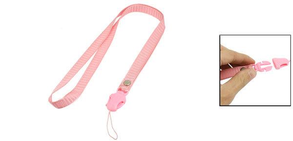 Pink Stripe Pattern Plastic Release Buckle Camera Phone Keys Neck Strap Lanyard