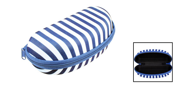 Blue White Stripes Pattern Zipper Case Box Holder for Spectacles Glasses Eyeglasses