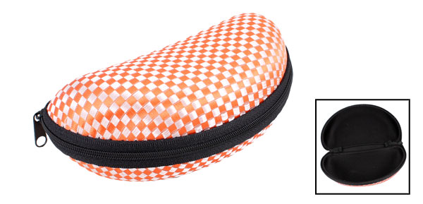 Orange Red Check Pattern Zip up Spectacles Glasses Eyeglasses Case Box