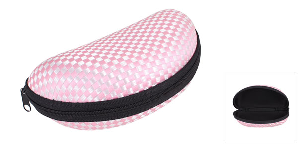 Pink Check Pattern Zip up Spectacles Glasses Eyeglasses Case Box