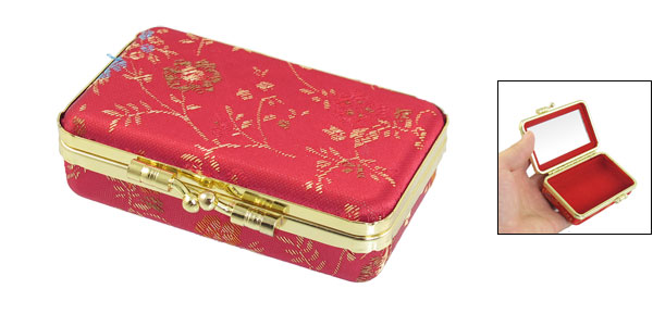 Women Gold Tone Clutch Closure Red Embroidered Floral Print Jewelry Boxes