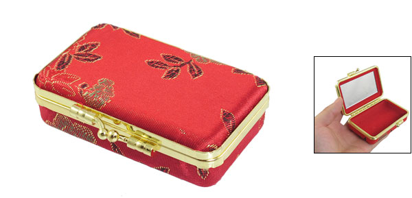 Ladies Decor Embroidered Flower Accent Kiss Lock Closure Jewelry Case Red