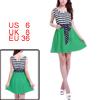 Ladies Sleeveless Stripe Printed Bid Pullover Green Dark Blue Tan...