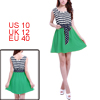 Women Stripe Printed Upper Green Dark Blue Mini Flare Tank Dress M