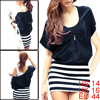 Ladies Navy Blue Elastic Wasit Stripe Pattern Hooded Dress L