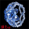Women Blue Plastic Crystal Beaded Flower Design Ring US 6 UK L 1/...