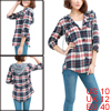 Allegra K Ladies Button Down Plaids Drawstring Hooide Shirt Dark Blue M