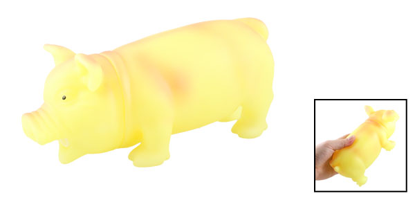 Yellow Soft Plastic Stress Reliever Sound Squeeze Oinking Pig Toy