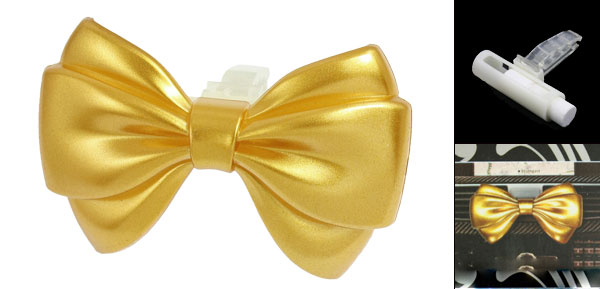 Gold Tone Bowtie Shape Auto Car Air Vent Perfumed Freshener