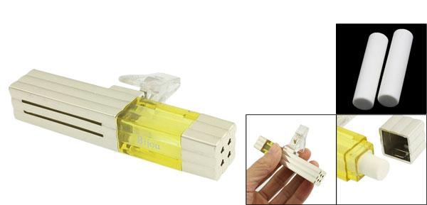 Silver Tone Yellow Plastic Auto Car Vent Air Freshener w Clip