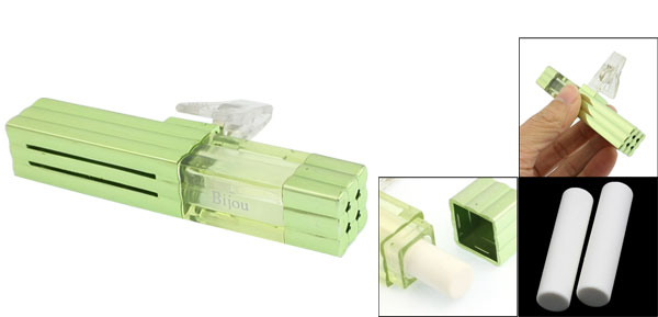 Clear Green Plastic Auto Car Vent Air Freshener w Clip