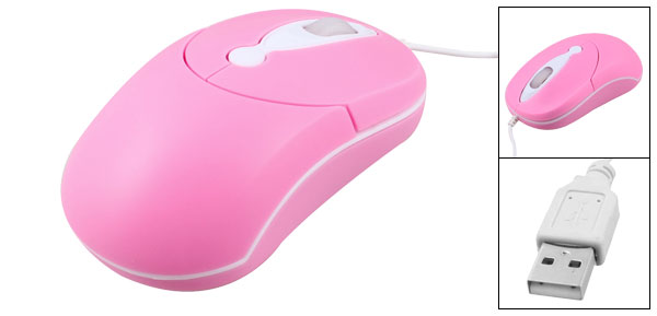1.5M Length Cable PC Desktop Computer Scroll Wheel USB 2.0 3D Optical Mouse Pink