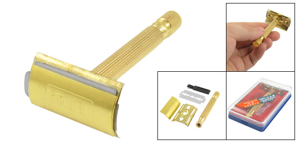 Men Double Edge Blade Nonslip Handle Hair Removal Hand Razor Gold Tone w Case