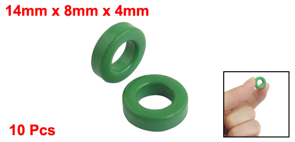 10 Pcs 14mm x 8mm x 4mm Green Iron Core Power Inductor Ferrite Ring