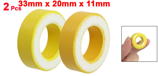 2 Pcs 33mm x 20mm x 11mm Yellow White Iron Core Power Inductor Ferrite Ring