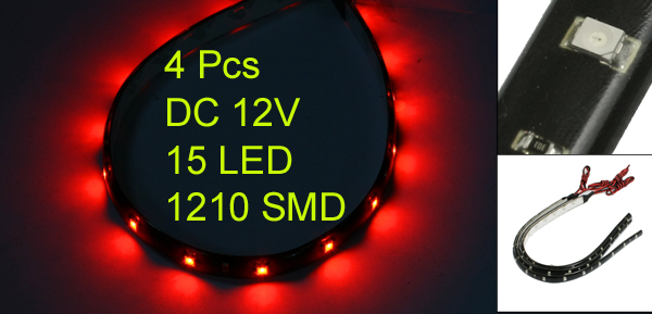 4pcs 30cm Length Waterproof 15 3528 SMD Flexible LED Strip Light Lamp Red DC 12V