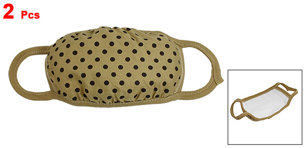 2 Pcs Black Dots Pattern Elastic Strap Dust Proof Mouth Face Earloop Mask Khaki