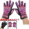 Geometric Pattern Nonslip Palm Design Winter Gloves Fuchsia for W...