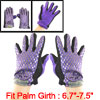 Bowknot Decor Full Finger Winter Gloves Black Purple for Women
