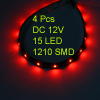4pcs 30cm Length Waterproof 15 3528 SMD Flexible LED Strip Light Lamp Red DC 12V