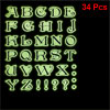 34 Pcs Light Green Black English Letter Shape Luminous Sticker De...