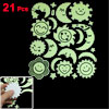 21 Pcs Light Green Black Star Moon Sun Shape Luminous Sticker Decal Ornament