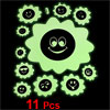 11 Pcs Light Green Black Smile Sun Shape Luminous Sticker Decal Decoration