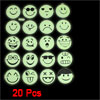 20 Pcs Light Green Black Smile Sad Face Shape Luminous Sticker Decor Decals