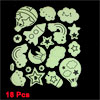 18 Pcs Light Green Black Star Moon Cloud Rainbow Shape Luminous Sticker Decals