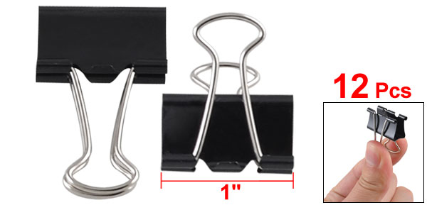 12 x Black Office Documents Papers Binder Clips 25mm Width