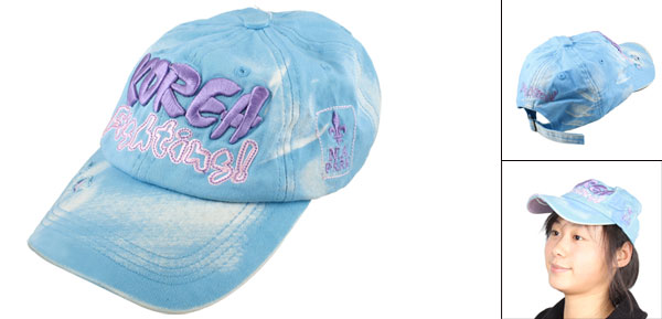 Girls Letters Pattern Adjustable Headband Warp Beach Visor Hat Cap Sky Blue