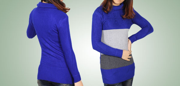 Ladies Blue Gray Long Sleeves Turtleneck Pullover Sweater